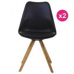 Set of 2 chairs black base oak KosyForm