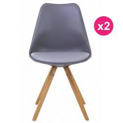 Set of 2 chairs gray oak KosyForm base