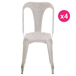 Set of 4 chairs industrial Metal white aged KosyForm