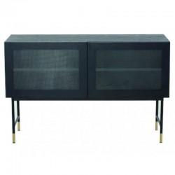Low in veneer oak black with glass doors and feet black Tozzini KosyForm Metal furniture
