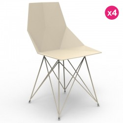 Set of 4 chairs FAZ Vondom stainless steel legs Ecru without armrests