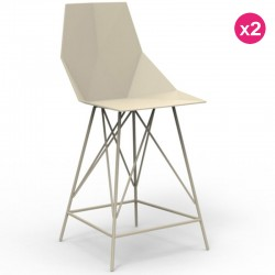 2-Pack high stool FAZ Vondom ecru and metal with armrests