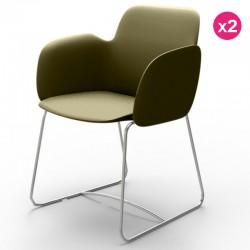 Pack of 2 chairs Vondom Pezzettina khaki Matt and metal