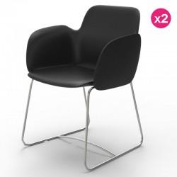 Vondom Pezzettina ブラックマットとメタルの2つの椅子のパック