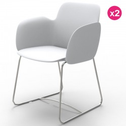 مجموعه من 2 الكراسي فوندوم Pezzettina الأبيض مات والمعادن