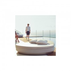 Sun lounger Vondom round Vela daybed backrest recliner Silvertex white