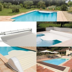 Automatic blade pool flap with 7x3 Igloo 2 White above-ground reel