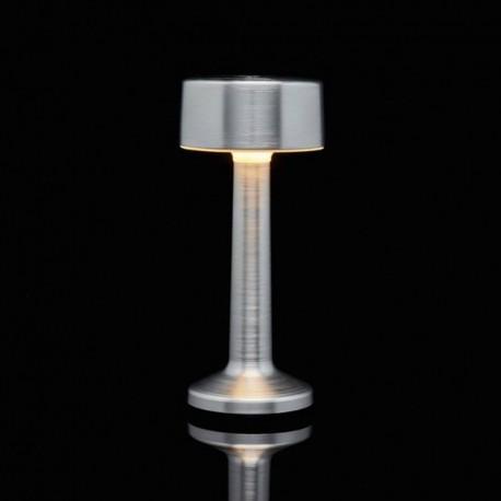Luminaire de Table Imagilights Led Sans Fil Collection Moments Argenté Cylindre