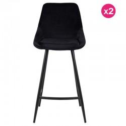 Lot of 2 Chairs Work Plan Black Velvet and Metal Kari KosyForm