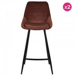 Lot of 2 Chairs Work Plan Velvet Brown and Metal Kari KosyForm