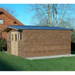 Thermabri Garden Shelter in Solid Wood of 23.82 m2 with Habrita Steel Roof
