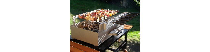 Barbecues and Grills with Wood and Charcoal